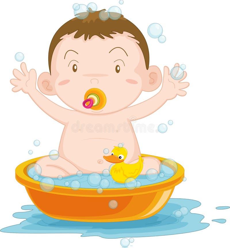 Niño que tiene un baño ilustración del vector