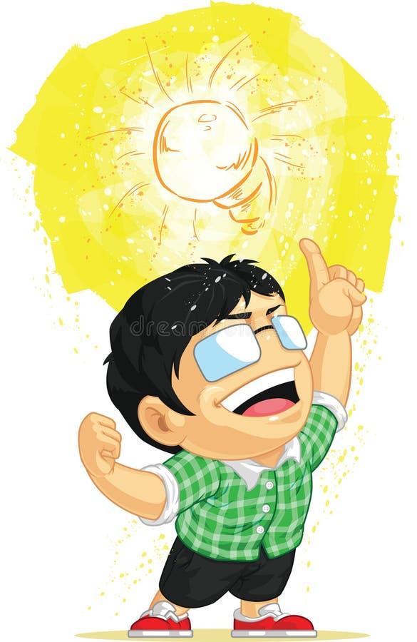 Niño que tiene una idea de la bombilla ilustración del vector