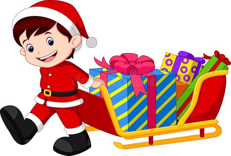 Niño que tira de un trineo por completo de regalos libre illustration