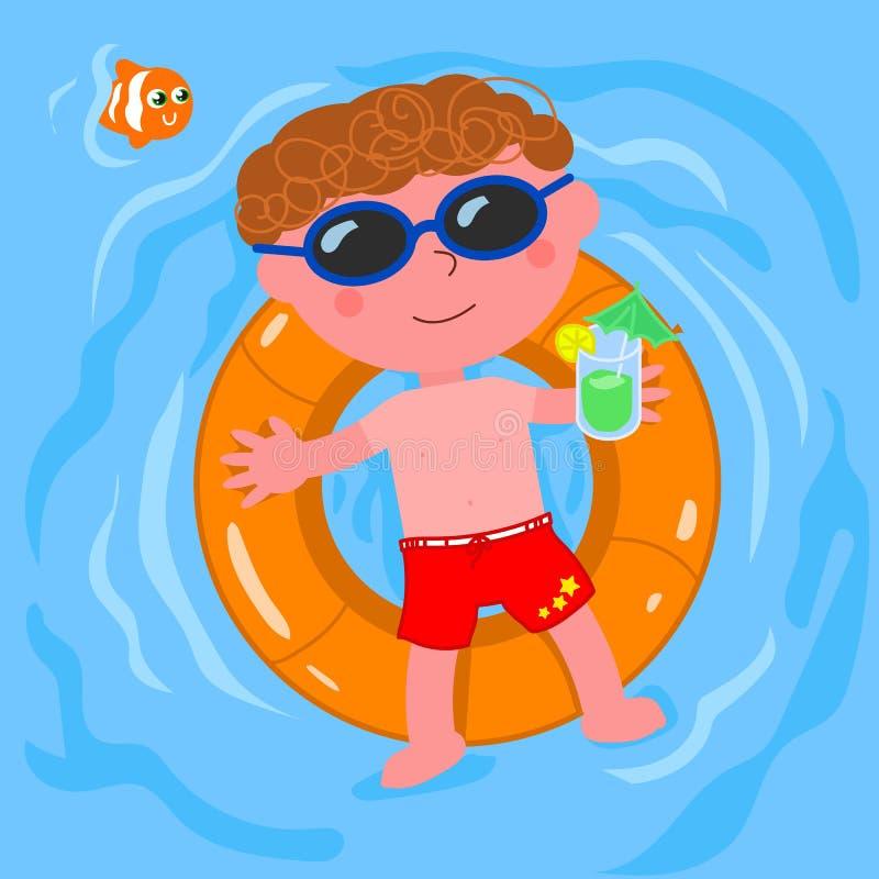 Niño relajado en vector del agua ilustración del vector