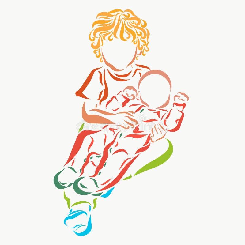 Niño rizado que detiene a un bebé libre illustration
