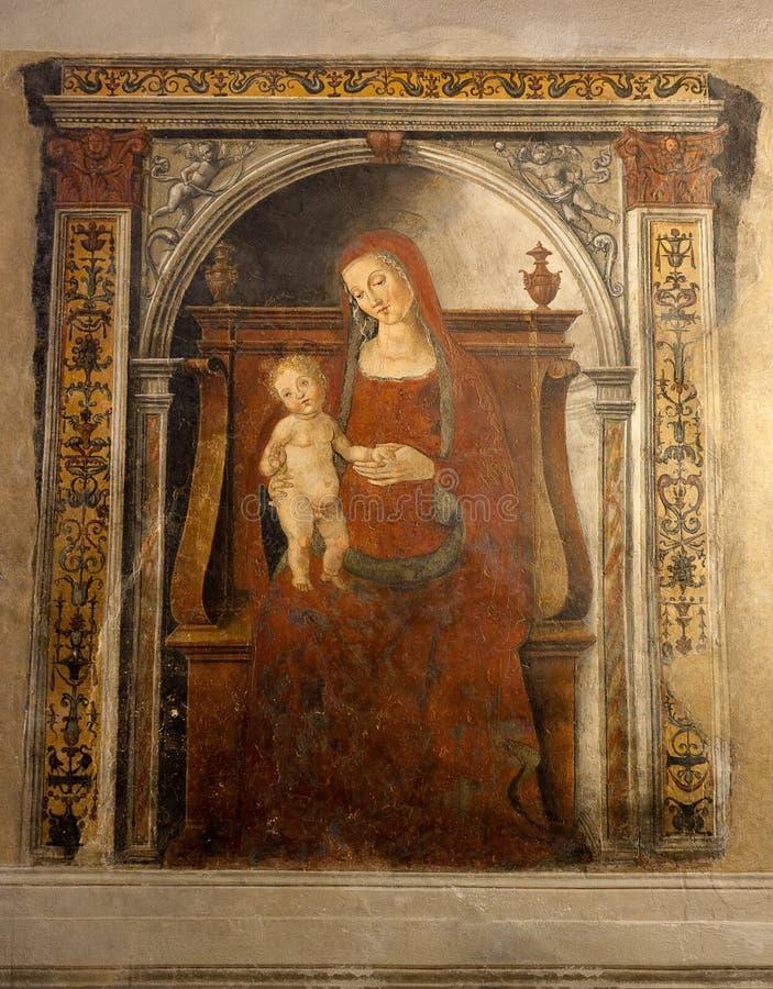 Niño santo Cristo Pubblico, Siena, Italia, noche de la Virgen María del fresco fotografía de archivo libre de regalías