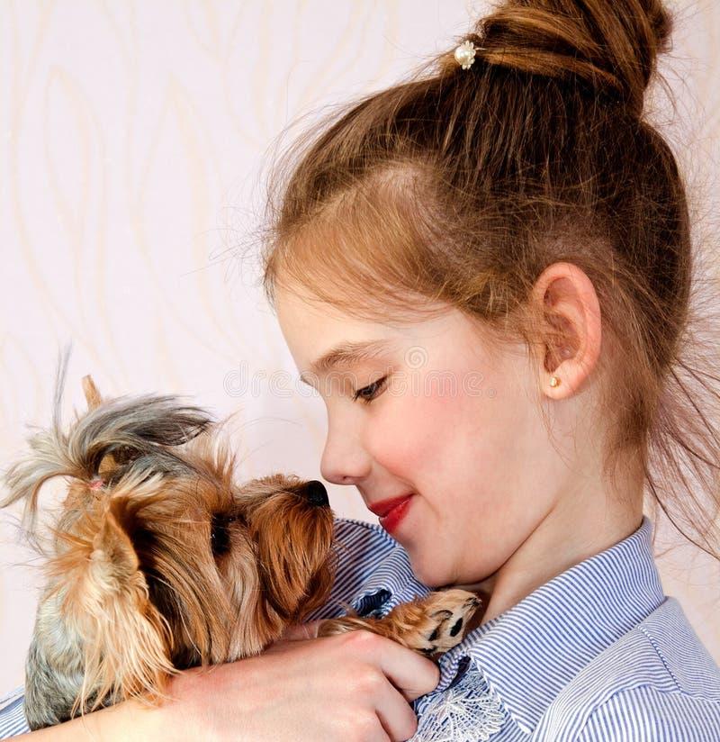 Niño sonriente adorable de la niña que se sostiene y que juega con el terrier de Yorkshire del perrito imagen de archivo