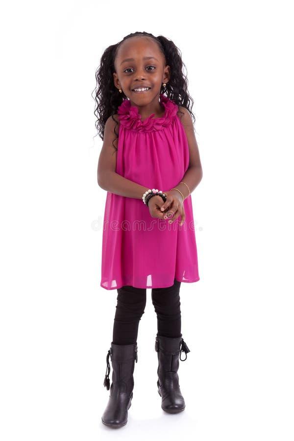 Niño sonriente de la pequeña muchacha afroamericana linda - personas negras - fotografía de archivo