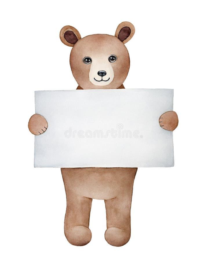 Niño sonriente lindo del oso marrón que se sostiene en hoja limpia en blanco del papel de carta de las manos stock de ilustración