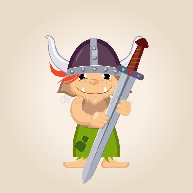 Niño vestido como Viking stock de ilustración