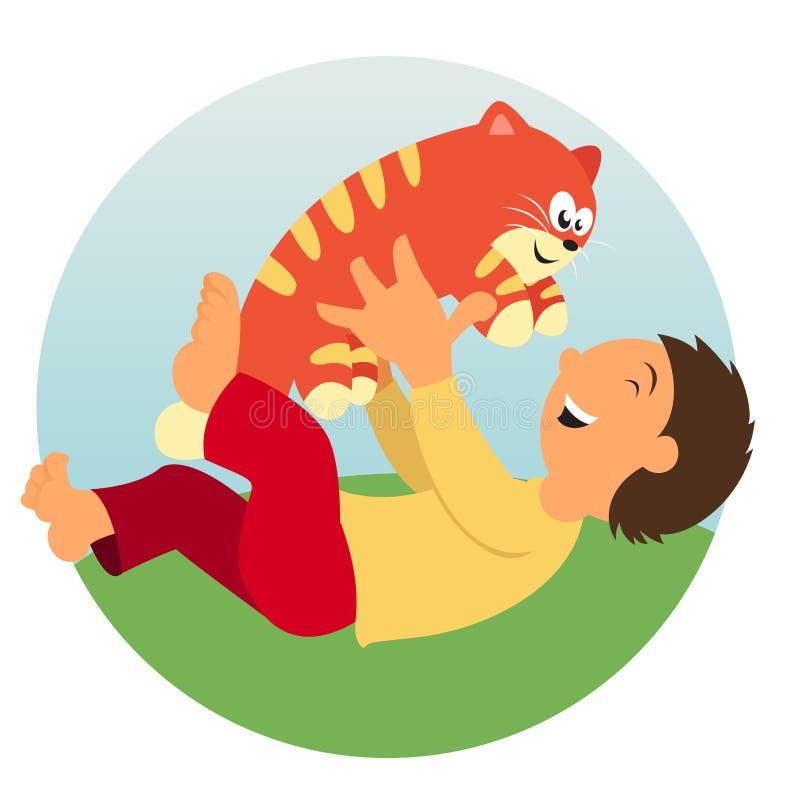 Niño y gato libre illustration