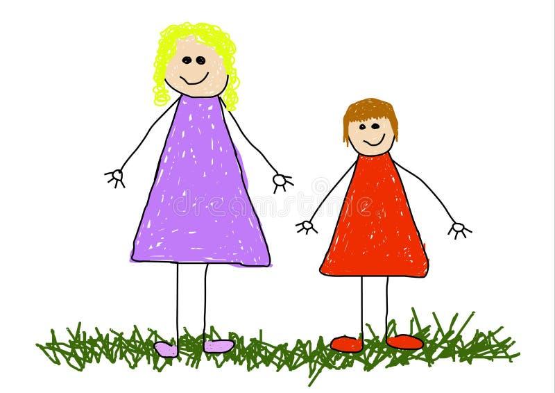 Niño y mama libre illustration