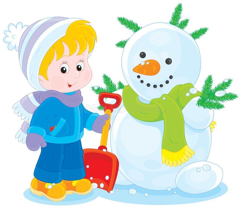 Niño y muñeco de nieve stock de ilustración