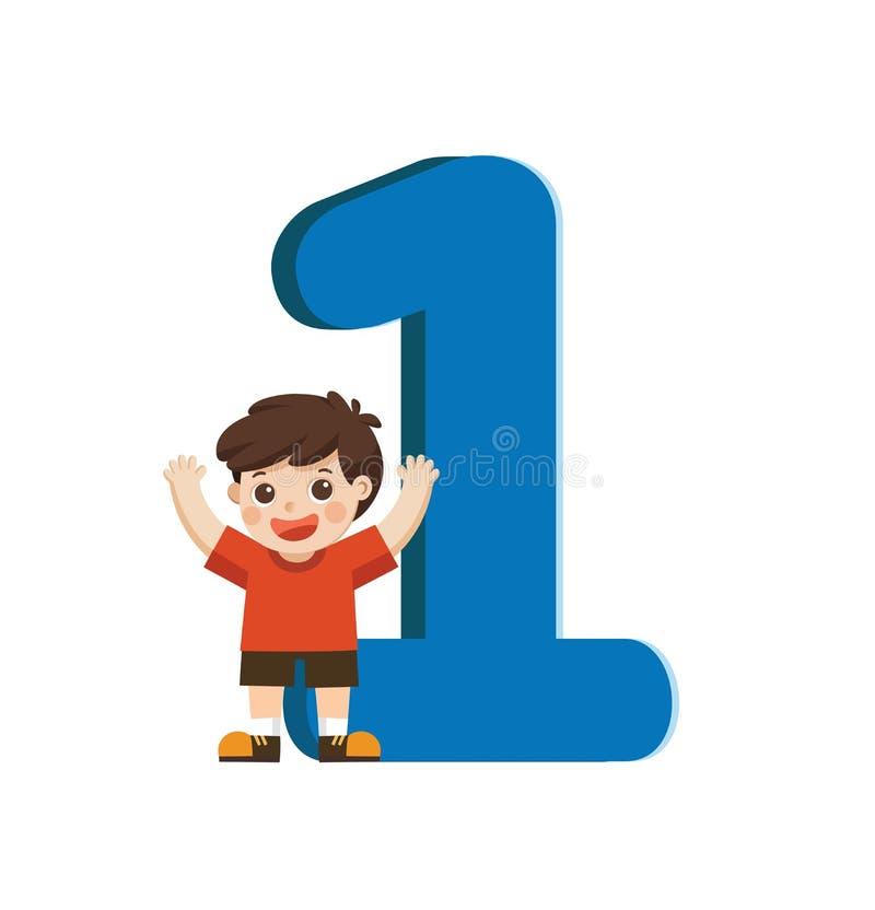 Niño y número colorido uno de la escuela formados ilustración del vector