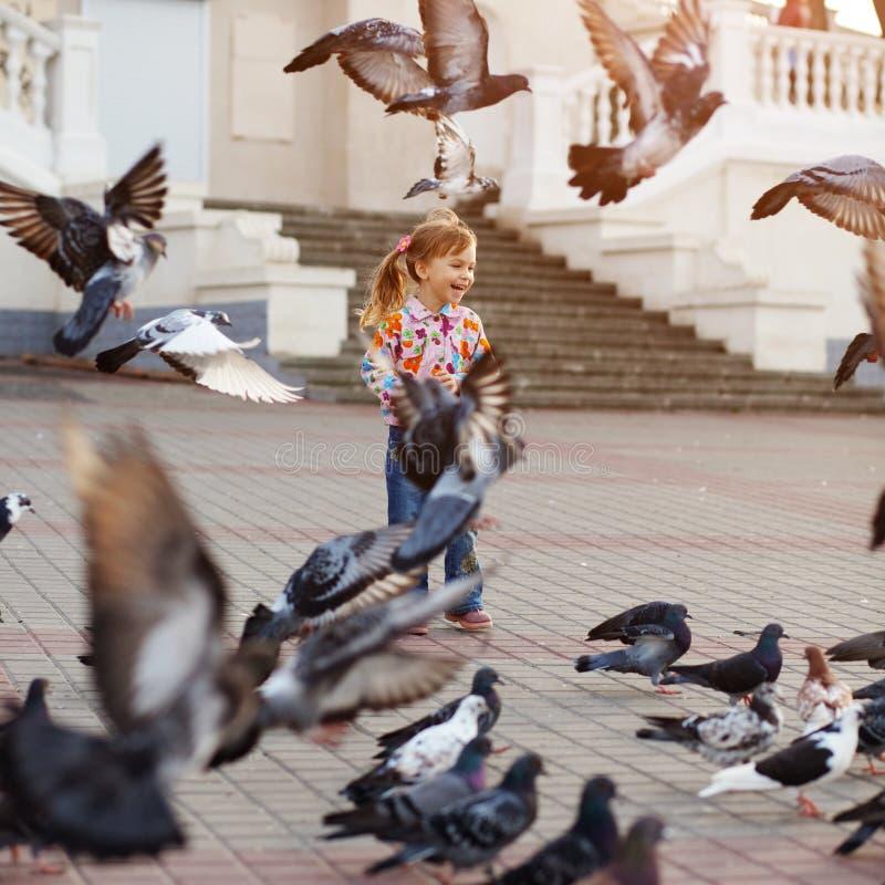 Niño y palomas imagen de archivo libre de regalías