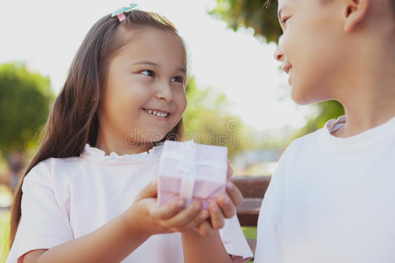 Niños adorables que disfrutan de día soleado caliente en el parque fotografía de archivo libre de regalías