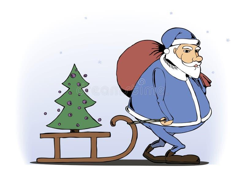 Niños afortunados de Santa Claus un árbol de navidad stock de ilustración