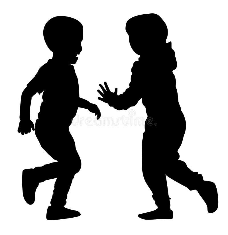 Niños alegres felices El niño pequeño y la muchacha que juegan en parque vector la silueta libre illustration