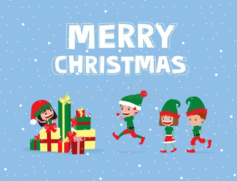 Niños alegres que llevan los trajes del duende, corriendo hacia la pila de regalos de la Navidad libre illustration