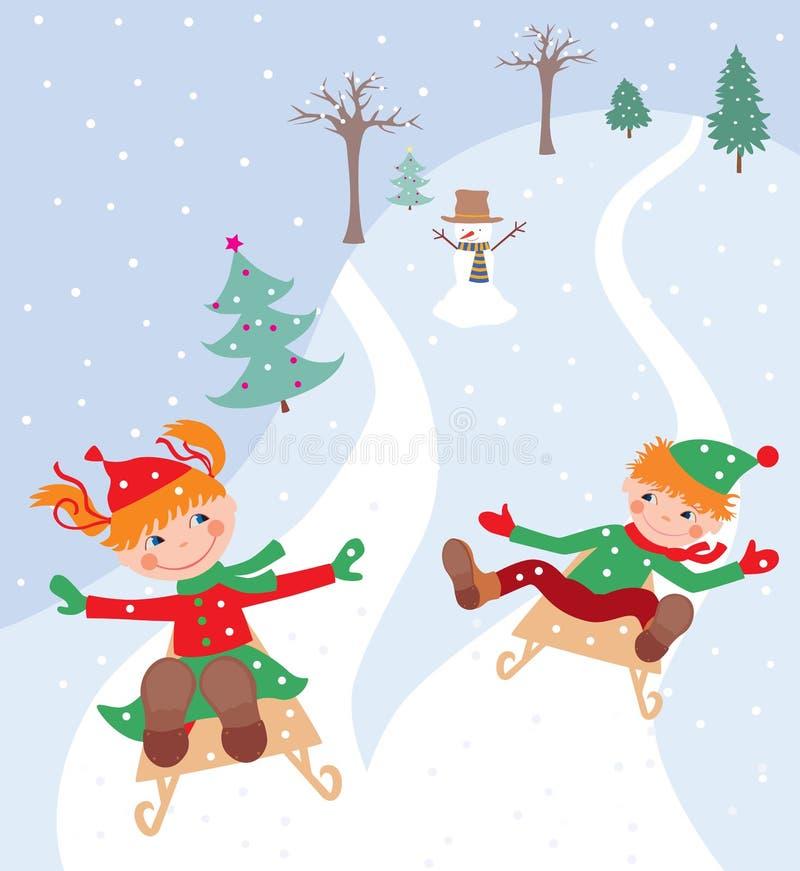 Niños alegres que montan en un trineo de una cuesta del hielo stock de ilustración