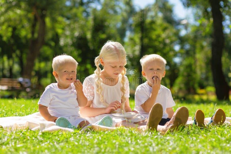 Niños alegres que pasan un fin de semana todo junto foto de archivo