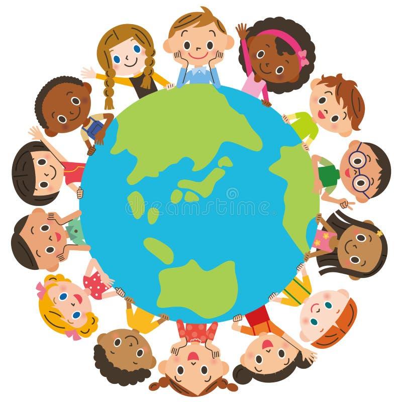 Niños alrededor de la tierra stock de ilustración