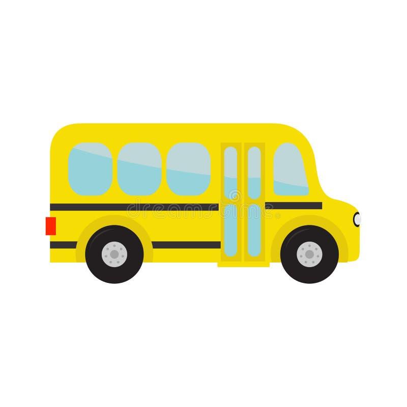 Niños amarillos del autobús escolar Clipart de la historieta transporte Colección del bebé Vista lateral Diseño plano Aislado Fon ilustración del vector