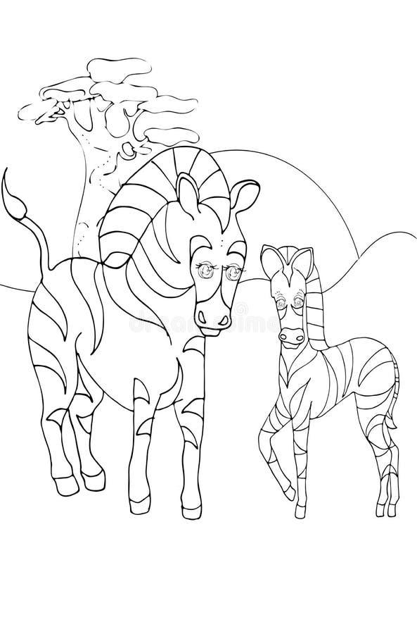Niños, animales y animales de los niños que colorean, cebra libre illustration