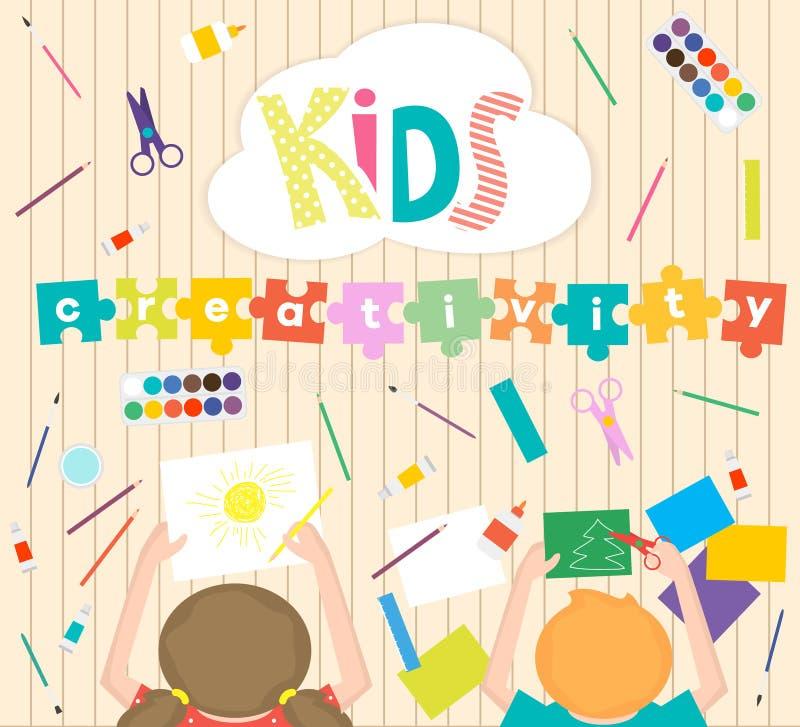 Niños Arte-que trabajan el fondo de proceso Embroma el ejemplo de la creatividad Visión superior con las manos creativas de los n ilustración del vector