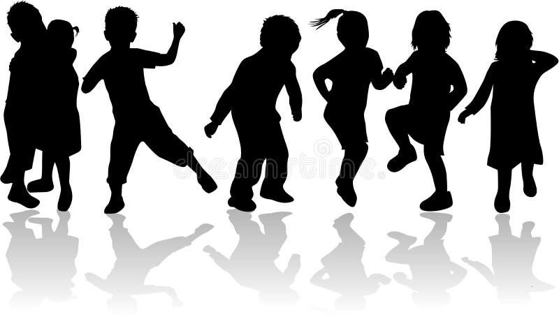 Niños, cabritos - siluetas negras stock de ilustración