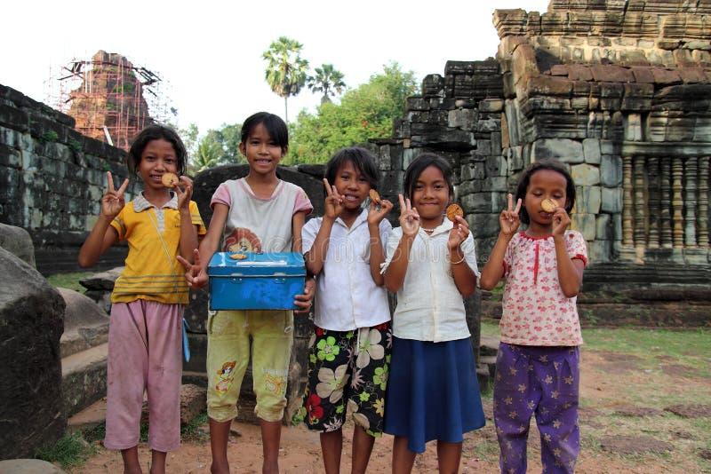 Niños camboyanos imagenes de archivo