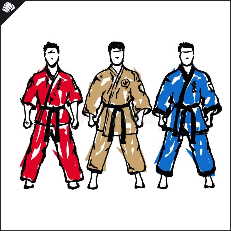 niños chinos de KONGFU Vector del silquette de los combatientes del karate EPS stock de ilustración