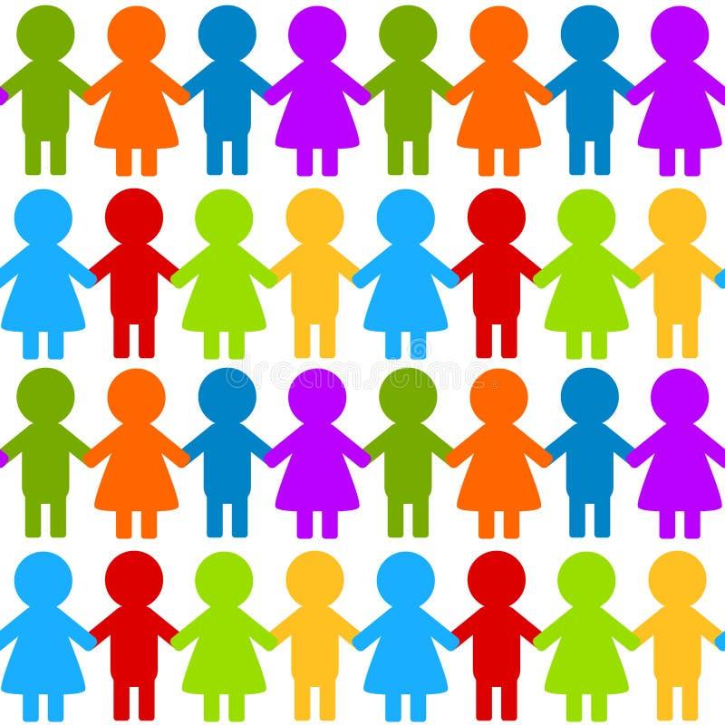 Niños coloridos inconsútiles que llevan a cabo las manos ilustración del vector