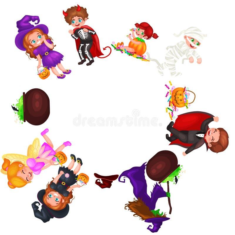 Niños coloridos lindos de Halloween en el traje para el ejemplo determinado del vector del partido ilustración del vector