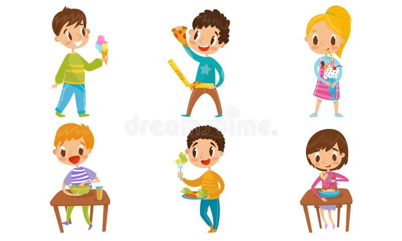 Niños Comiendo Alimentos Saludables Y Desechables Diferentes Conceptos Conjunto De Ilustración Vectorial Ilustración Del Vector Ilustración De Muchacha Salud 161134763