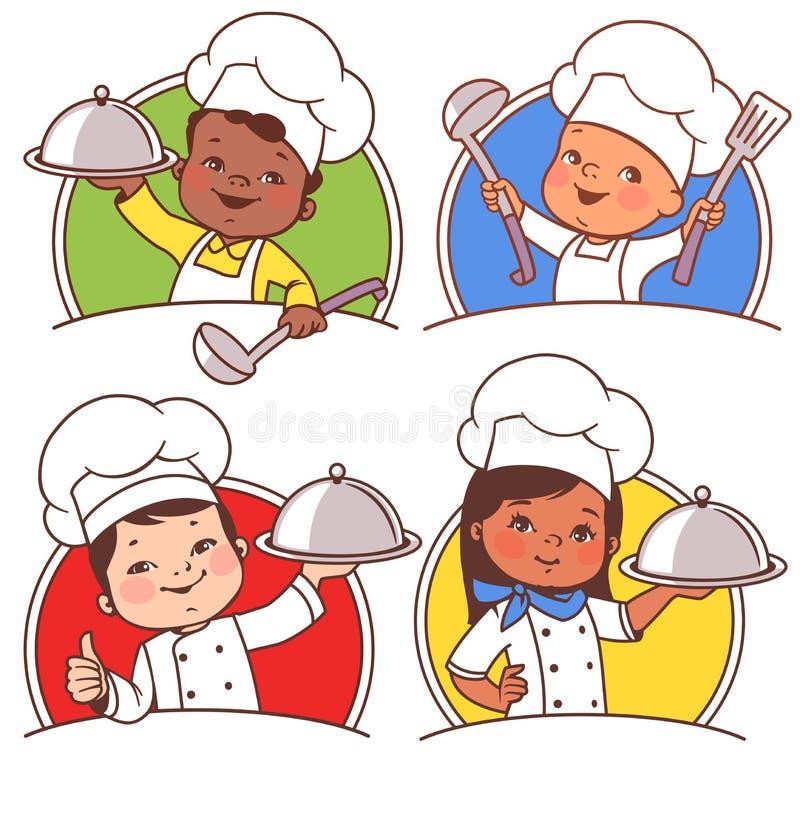 Niños como cocineros nacionales stock de ilustración