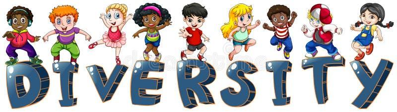 Niños con diversas nacionalidades stock de ilustración