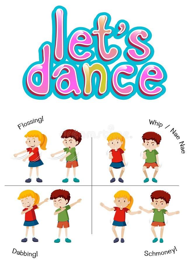 Niños con diverso movimiento de la danza libre illustration