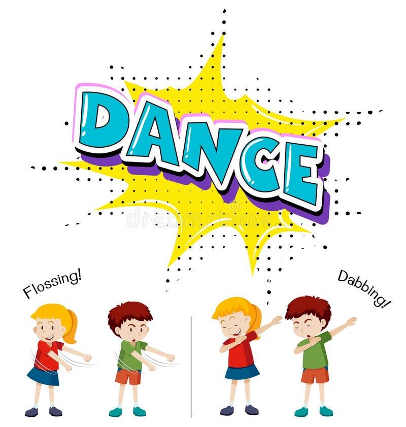 Niños con diverso movimiento de la danza ilustración del vector