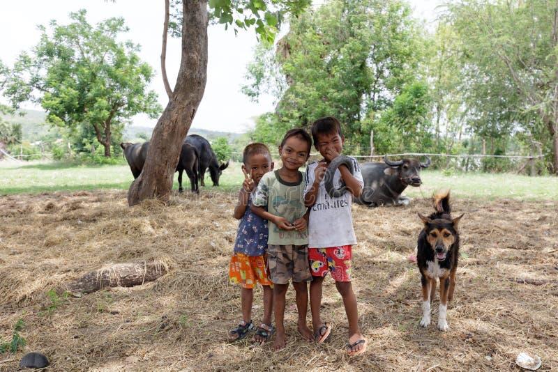 Niños con el búfalo y el perro en granja en Tailandia fotos de archivo