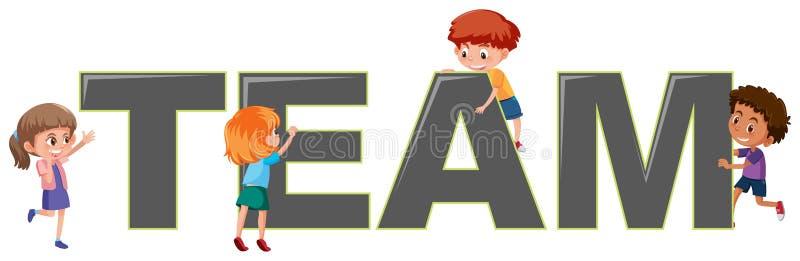 Niños con el logotipo del equipo libre illustration