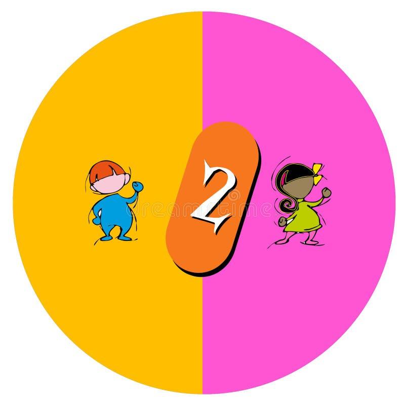Niños con el número dos stock de ilustración