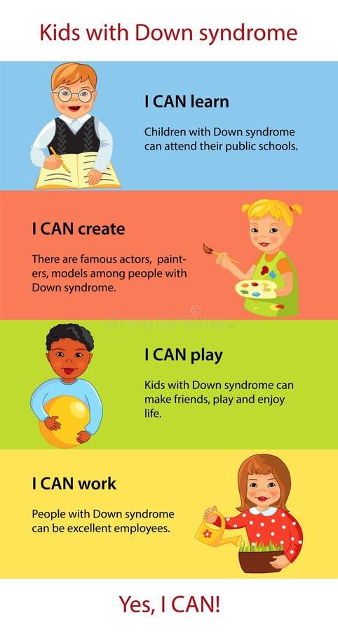 Niños con infographics de los hechos de Síndrome de Down libre illustration