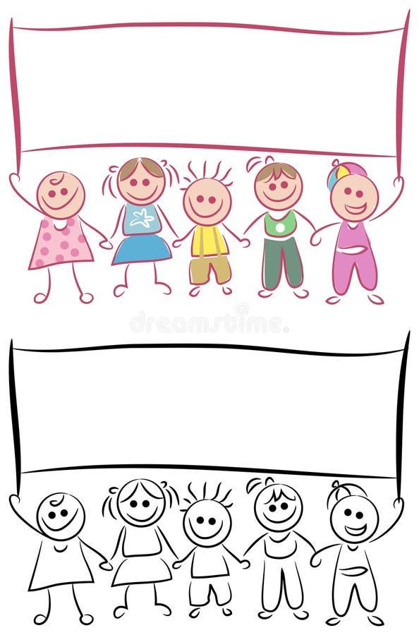 Niños con la bandera en blanco ilustración del vector