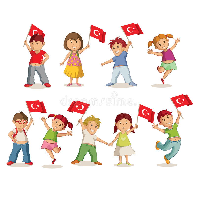 Niños con las banderas libre illustration