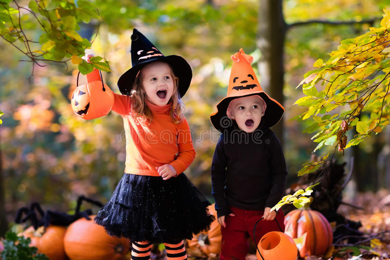 Niños con las calabazas en Halloween foto de archivo libre de regalías