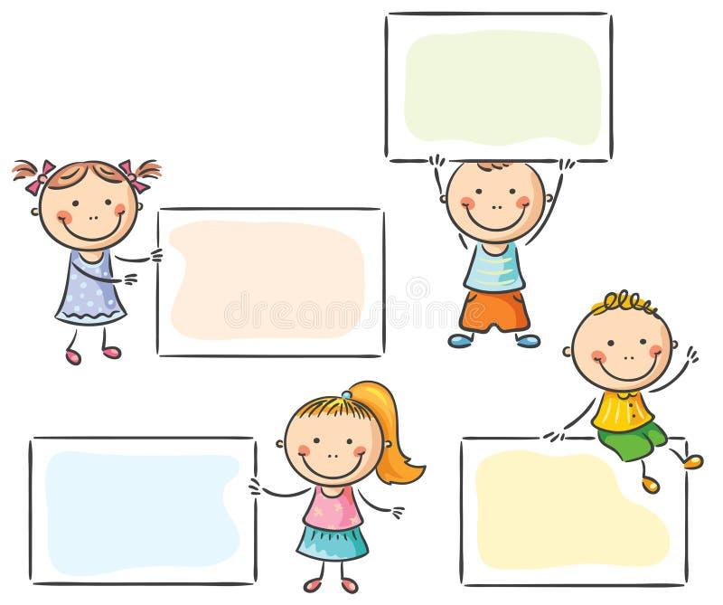 Niños con las muestras en blanco libre illustration