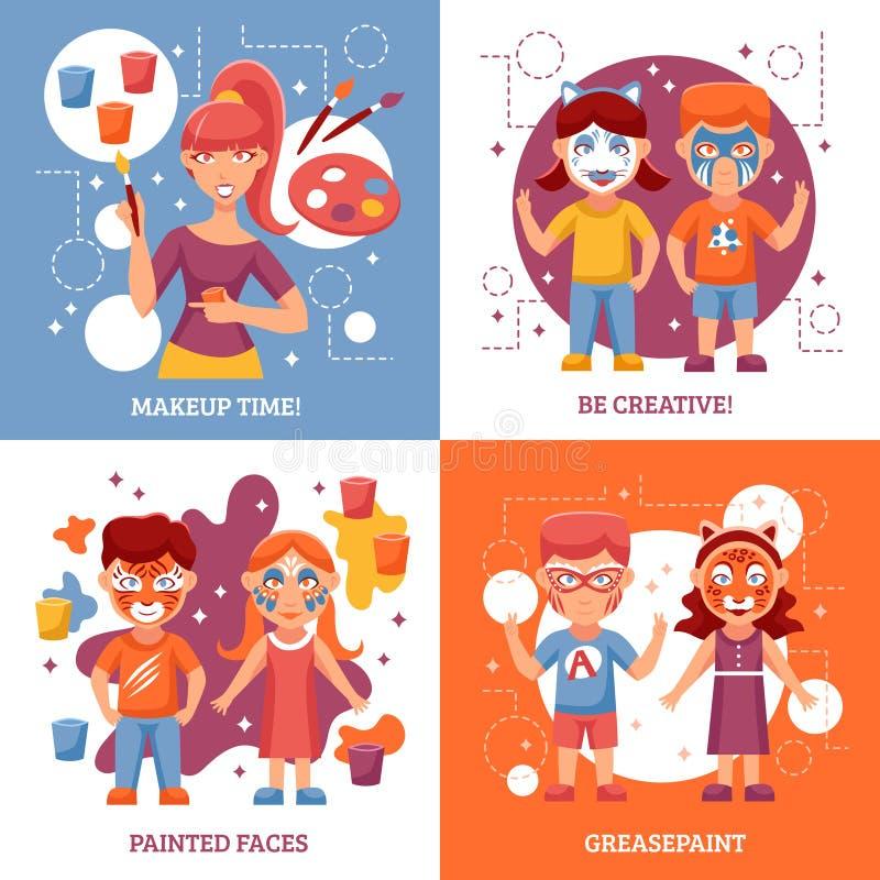 Niños con los iconos pintados del concepto de las caras fijados stock de ilustración