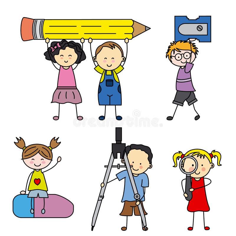 Niños con los objetos de la escuela stock de ilustración