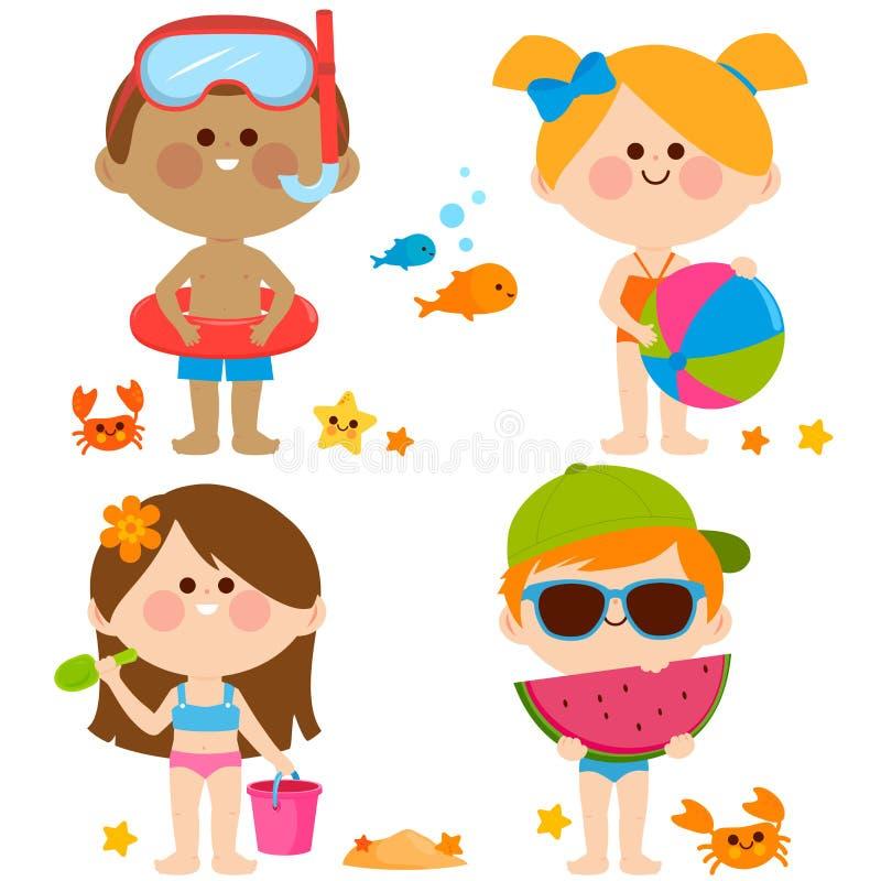 Niños con los trajes de baño que juegan en la playa Colección del vector stock de ilustración