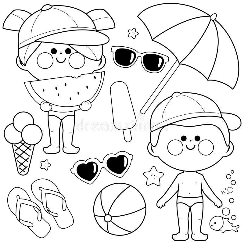 Niños con los trajes de baño y los sombreros Elementos del diseño de las vacaciones de verano de la playa Página blanco y negro d stock de ilustración