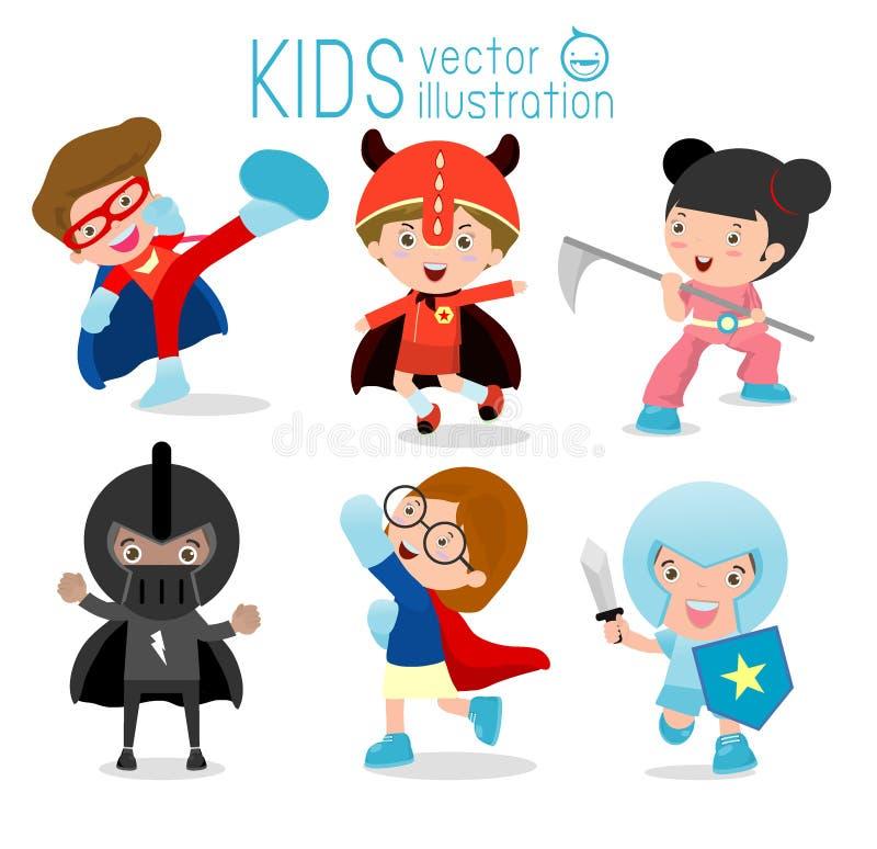Niños con los trajes del super héroe, niños del super héroe, niños del super héroe stock de ilustración