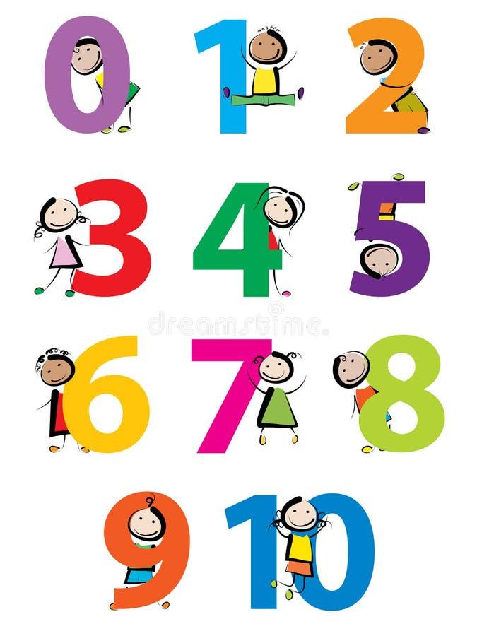 Niños con números stock de ilustración
