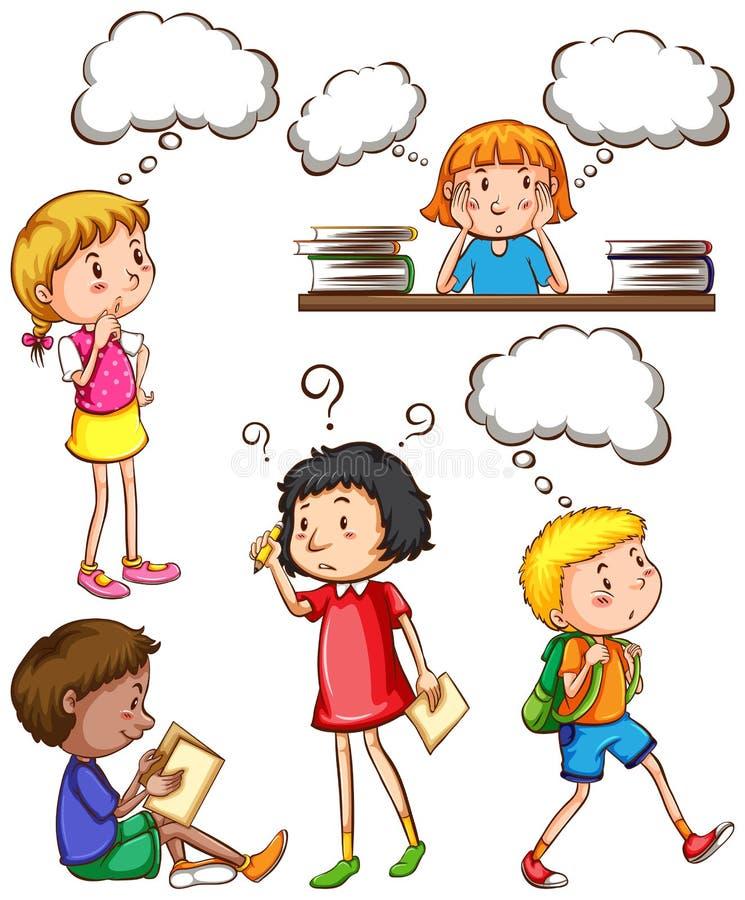 Niños con pensamientos vacíos libre illustration